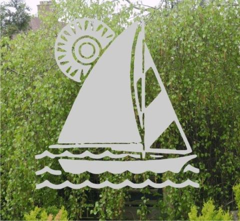 Etched Glass Effect Sailing Boat sticker